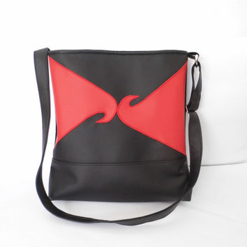 Red and black faux leather purse, tote