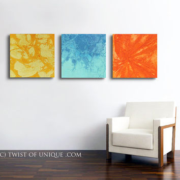 Bright colored abstract Painting / CUSTOM 3 panel ( 20 Inch x 20 Inch ) / Extra large wall art /  Yellow Orange, Sea green, Blue