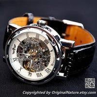 Mens Steampunk Leather Wrist Watch Groomsmen Gift, Anniversary Gift For Men (ET0081-WHITE)
