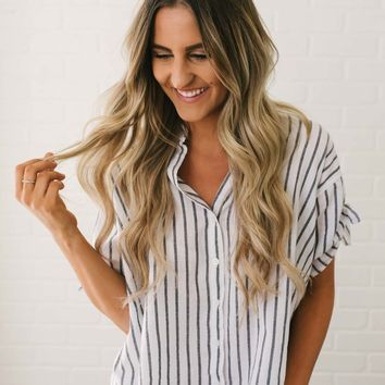 Tie Sleeve Striped Button Down Top - Black/White