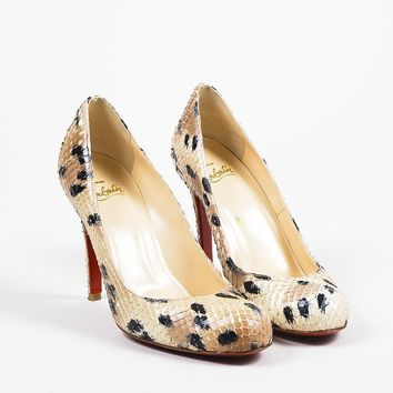 PEAP Christian Louboutin Beige and Black Spotted Python Round Toe   Simple   Pumps