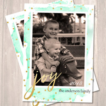 Joy Holiday Card, Photo Card, Christmas/Holiday Card, Watercolor & Gold Foil - PRINTABLE - Digital File