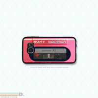 Retro 80's Pink Walkman, Custom Phone Case for Galaxy S4, S5, S6