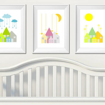 Set Of 3 Nursery Art Prints, Printable Nursery Wall Decor, Modern Nursery Little Houses Wall Art