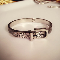 New Arrival Shiny Jewelry Stylish Titanium Strong Character Ring Adjustable Vintage Bangle [8573522189]