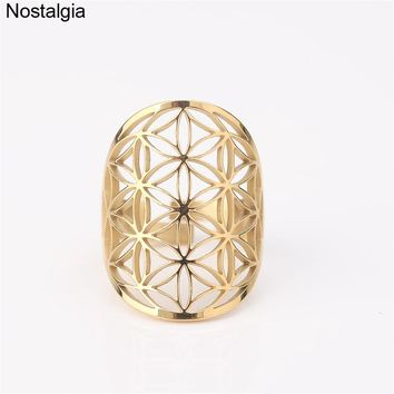 Nostalgia Flower Of Life Wicca Hollow Fleur De Vie Sacred Geometry Adjustable Rings For Women Stainless Steel Gold Ring Men