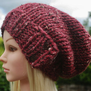 Hand Knit Hat Women's hat- Chunky with wool- slouchy beanie hat- winter hat- cranberry tweed with 2 dark coconut buttons