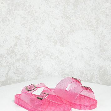 Glitter Jelly Buckled Slides