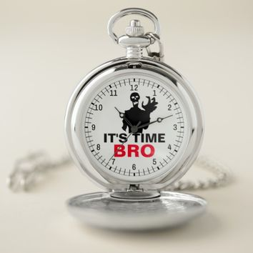 Its Time, Bro personal customizable Halloween Pocket Watch