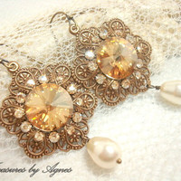 Bridal earrings, vintage style earrings, wedding jewelry, antique brass with golden shadow crystals, bridesmaid