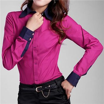 2017 New Shirt Women Tops 6XL 7XL Plus Size Solid Button Down Long Sleeve Formal Tunic Casual Blouse Top Blusas Feminina #B39