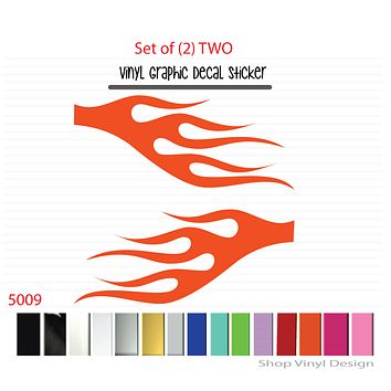 Flames Vinyl Graphic Decal Sticker  - STYLE F5009 - Set of (2)