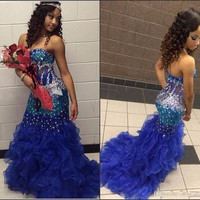 Mermaid Prom Dresses 2017 Strapless Sparkling Beads Rhinestones Royal Blue Ruffles Organza Formal Evening Gowns