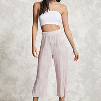 Metallic Pleated Cropped Pants