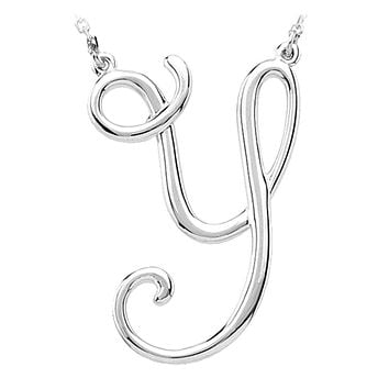 Sterling Silver, Olivia Collection, Medium Script Initial Y Necklace