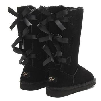UGG Fashion Women Fur Bow Wool Snow Boots In Tube Boots Shoes-2