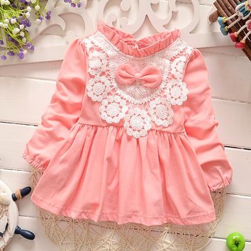 Retail-2016 autumn new born baby dress/soft and cute floral lace princess infant dress baby girls dress Honey Baby clothes pink