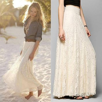 2017 New European and American Style Women Pleated Solid Mesh Lace Layered Gypsy Boho Summer Long Maxi Skirt Girl Beach Clothing