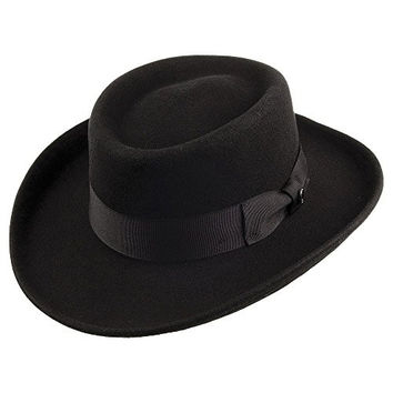 Jaxon Hats Wool Gambler Hat (Large, Black)