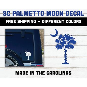SC Palmetto Tree & Moon Vinyl Decal Car Sticker Palmetto Moon State Flag SC