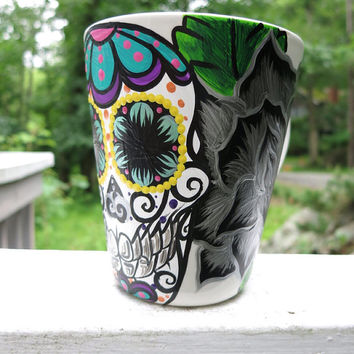 Hand painted sugar skull and black rose mug