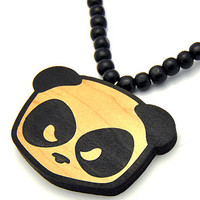 Panda Head Wood Pendant in Black & Natural