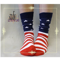 American Flag sock, stars and stripes, America, flag sock, women, sock, Patriotic, 4th of July