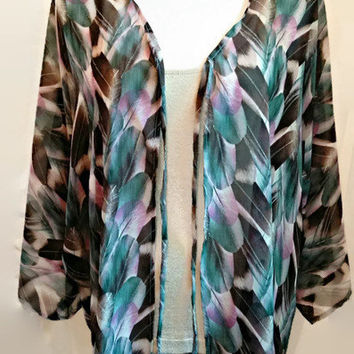 Beaded Tassel Feather Print Kimono Cardigan, Free Size Chiffon Kimono Jacket, Womens Girls Gift for her, Valentine's Day, Handmade, Easter.