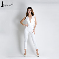 Free Shipping Missord 2016 Sexy v-neck sleeveless Metal circle drawstring  JUMPSUITS FT7093