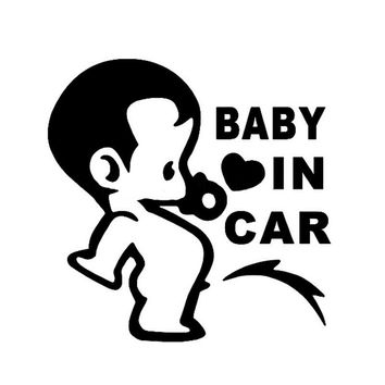 12*12CM BABY IN CAR Cute Fun Loving Child's Personality Car Stickers Motorcycle Decals Car Styling Black/Silver C1-0093