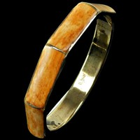 Brass Bangle Bracelet with Inlaid Bamboo Octagon Shape