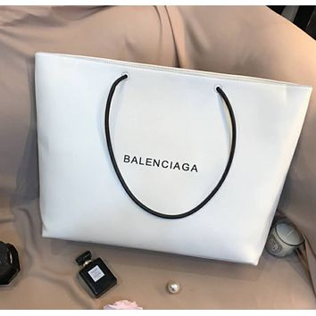 Balenciaga new white leather shopping bag handbag shoulder bag