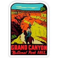 'Grand Canyon National Park Arizona Vintage Travel Decal' Sticker by hilda74