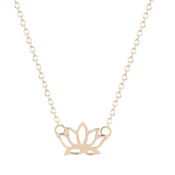 Simple Cute Sweet lotus Jewelry Tiny Buddhist Zen Blooming Lotus Necklace