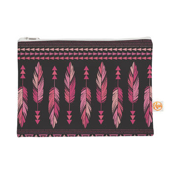 "Amanda Lane ""Painted Feathers Gray"" Pink Dark Everything Bag"