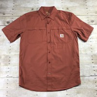 Carhartt Force Relaxed Fit Orange Button Up Shirt Mens Size Medium