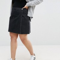 ASOS CURVE Denim Wrap Skirt in Washed Black at asos.com