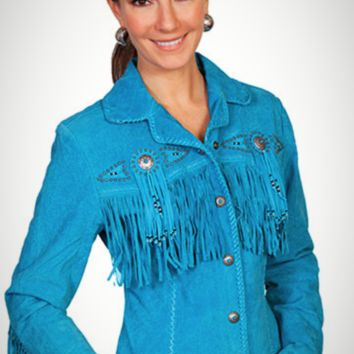Scully Boar Suede Beaded Fringe Jacket~ Turquoise