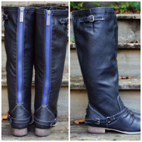 Montana Skye Black Blue Zipper Riding Boots