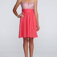 Strapless Short Chiffon Dress with Beaded Bodice - David's Bridal - mobile