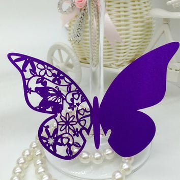 144PCS Purple Laser Cut Out Flower Butterfly Party Table Name Place Cards Wedding Favor Centerpieces Wedding Decor