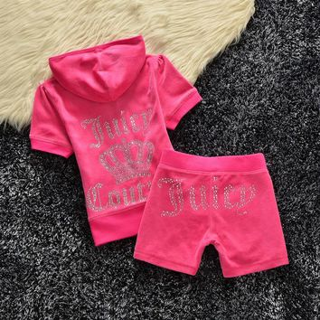 Juicy Couture Studded Logo Crown Velour Tracksuit 608 2pcs Women Suits Rose