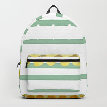 Playful Simple White Lines with Yellow Dots and Mint Green Lines Backpacks by Sheila Wenzel