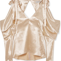 REJINA PYO - Camille cold-shoulder draped satin blouse
