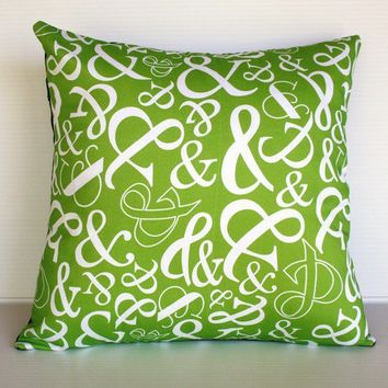 green decorative pillow Organic cotton by mybeardedpigeon on Etsy