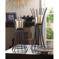 Modern Metal And Glass Basket Votive Candle Holder Pair