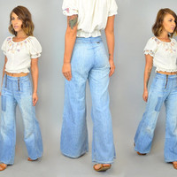 reserved---vtg 70s Maverick DOUBLE ZIP distressed faded PATCHWORK light wash frayed bell bottom jeans, extra small-small