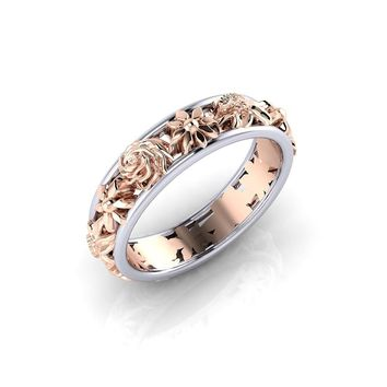 Exquisite 925 Sterling Silver Infinity Floral Ring Two Tone 18K Rose Gold Flowers Christmas Proposal Gift Jewelry Cocktail Party