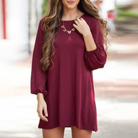 Round Neck Lantern Sleeve A-line Dress