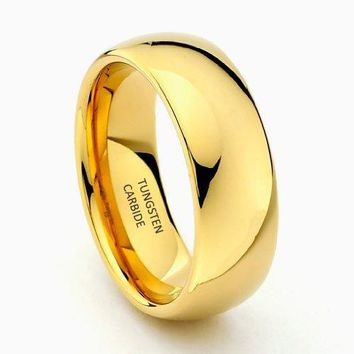 8mm Gold Tungsten carbide Wedding Band (14k, 18k, 24k Yellow Gold)